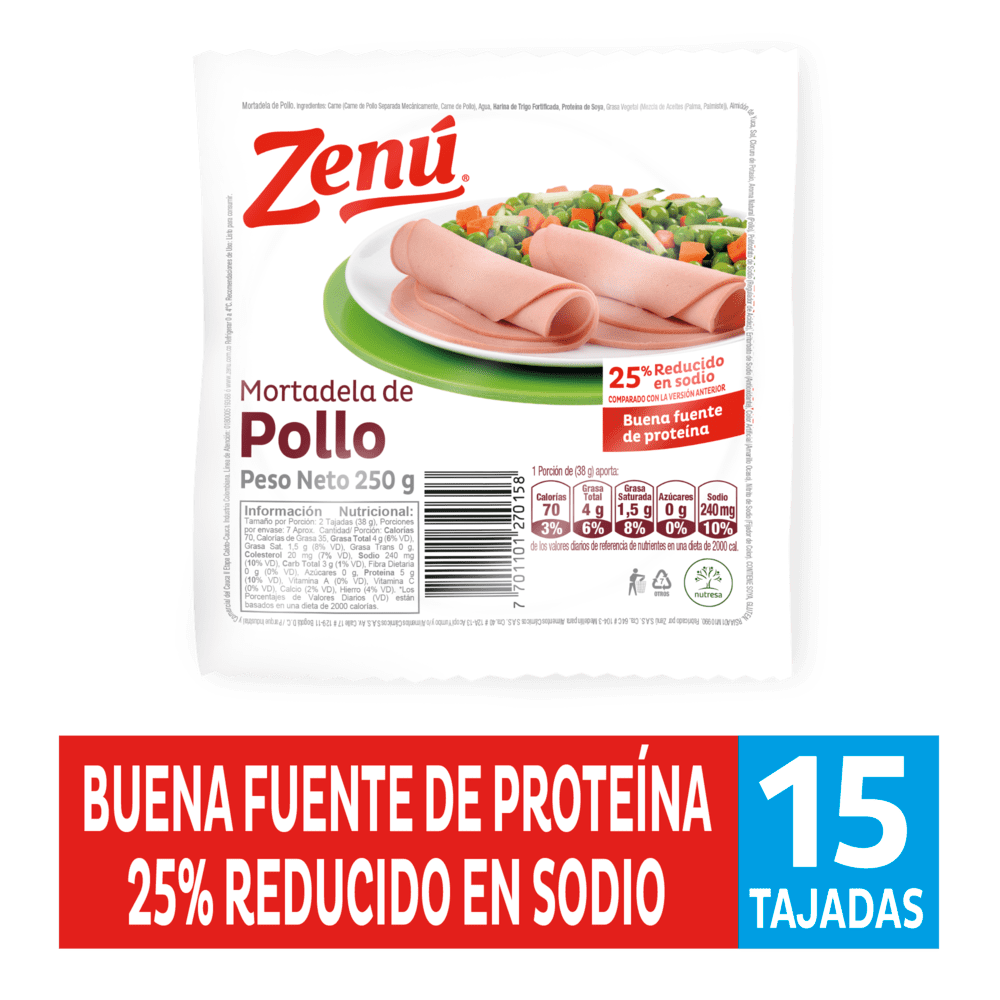 Mortadela Zenú Pollo 250 G