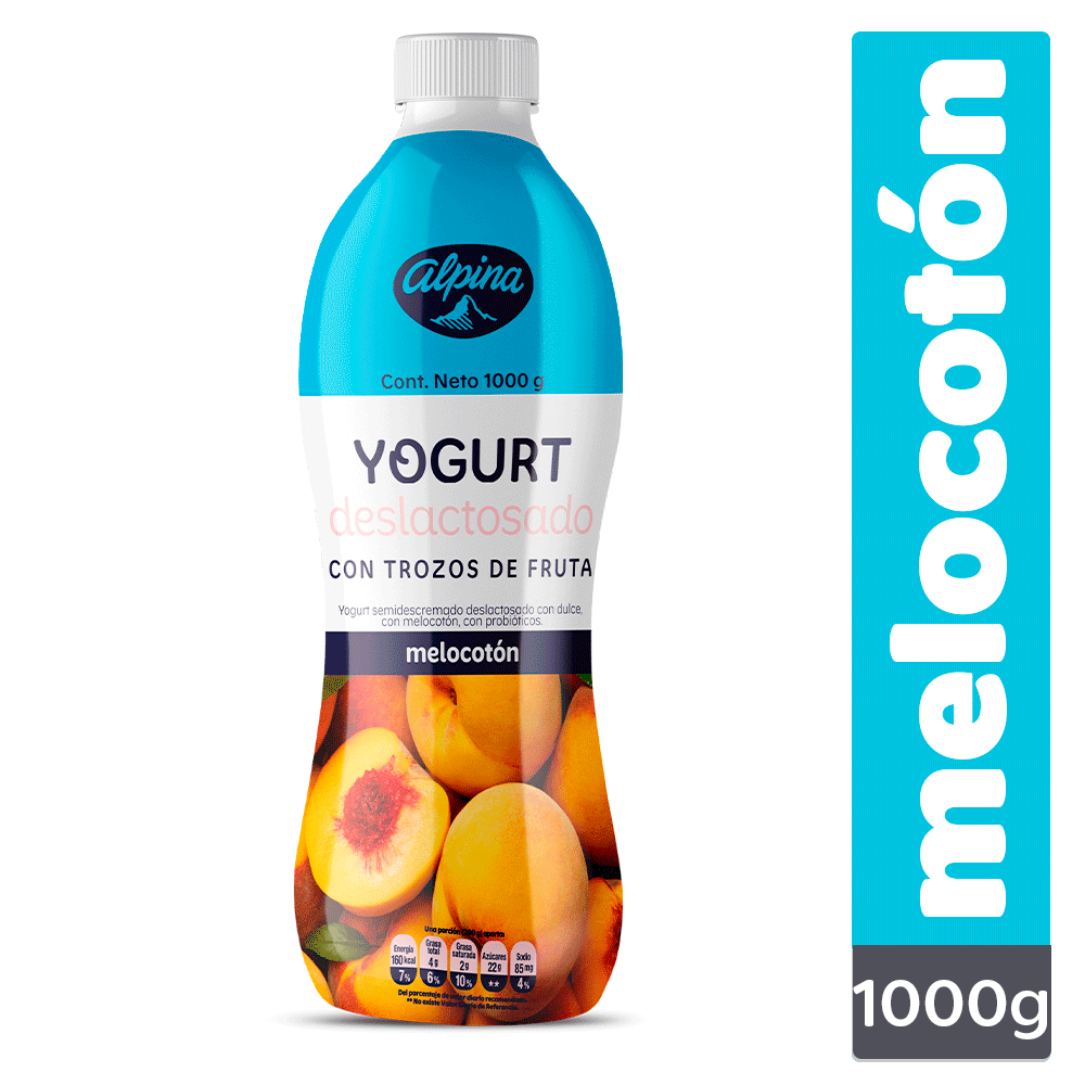 Yogurt Deslactosado Melocotón Botella 1000G