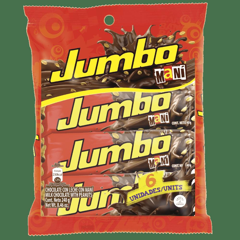 Chocolatina Jet Jumbo Maní Paq X 6 Und/ 240 G
