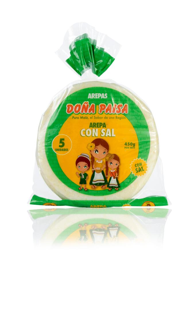 Arepa Doña Paisa Blanca Con Sal X 5Und /450 G