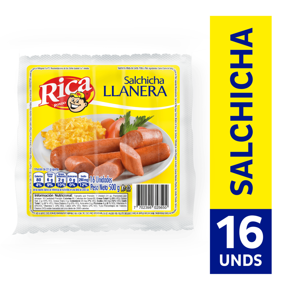 Salchicha Llanera Rica 500G