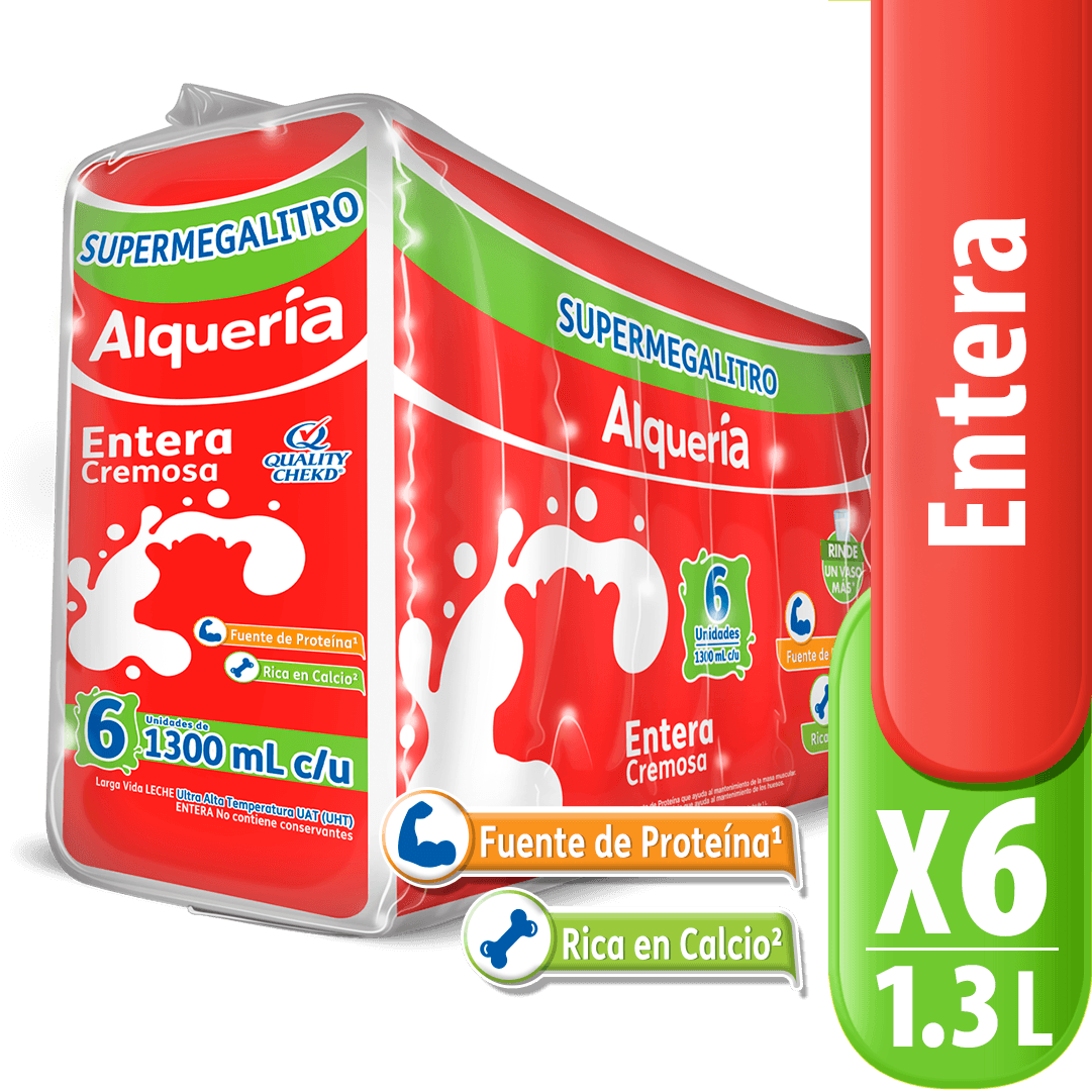 Leche Alquería Entera X 1300 Ml Megalitro X 6 Und