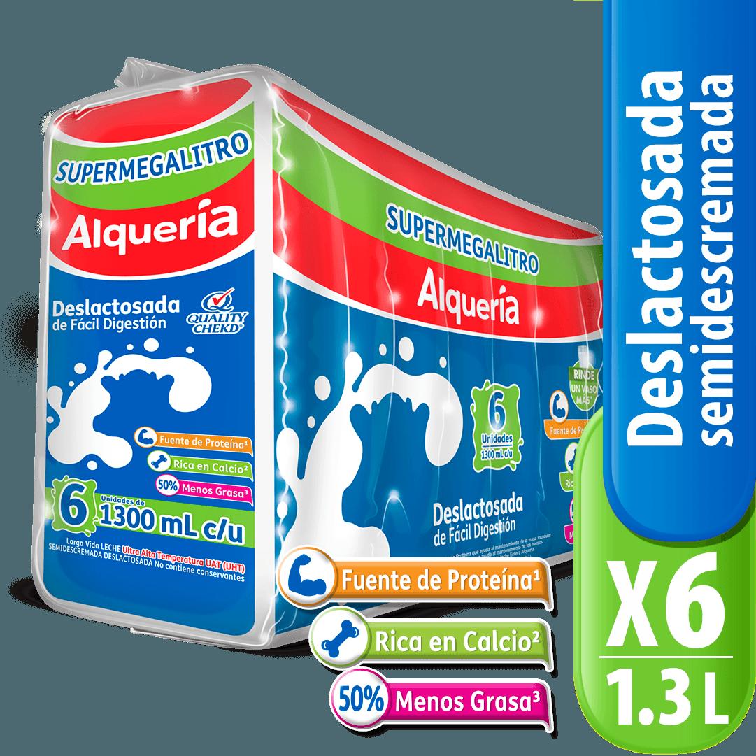 Leche Alquería Deslactosada X 1300 Ml Megalitro X 6 Und