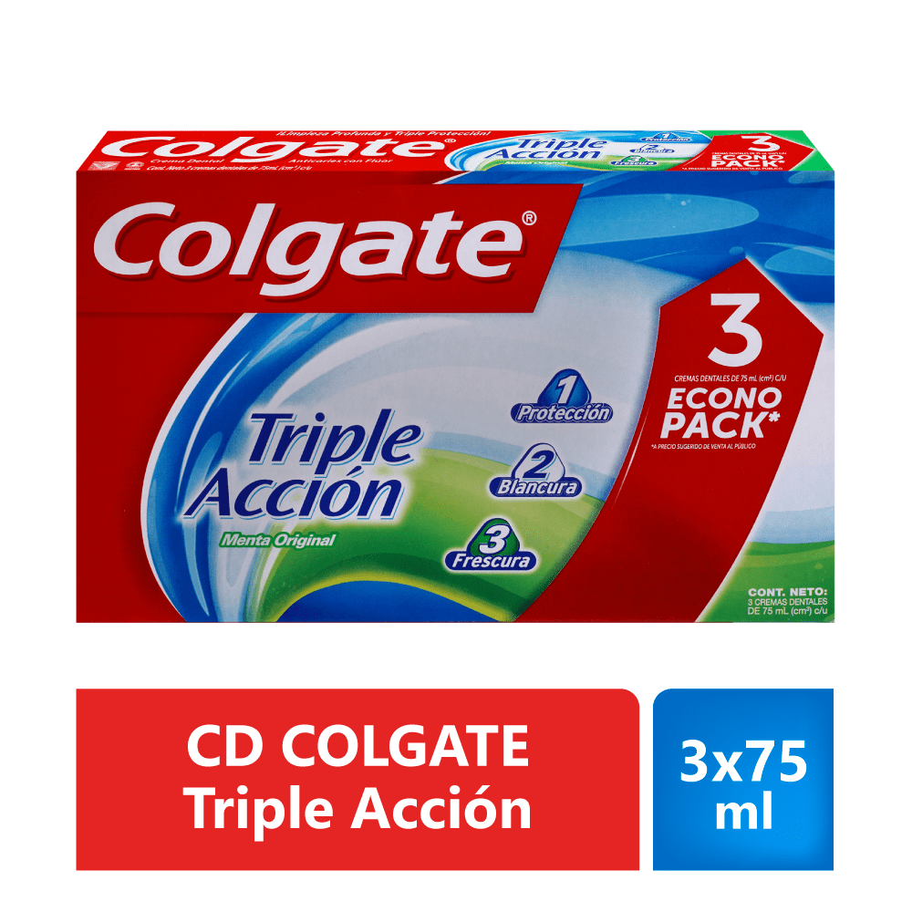 Crema Colgate 3X75 Ml Triple Acción Precio Especial