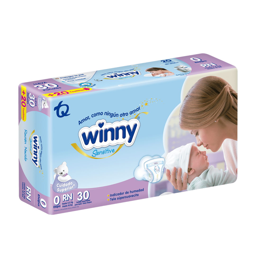 Pañal Winny Sensitive Etapa 0 X 30 Und Gratis 20 Toallas