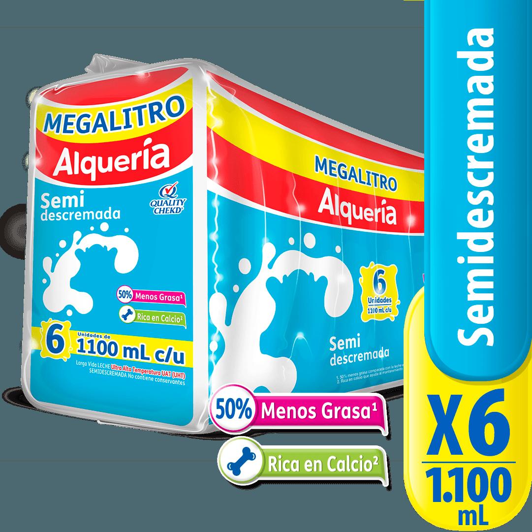 Leche Alquería Semidescremada X 1100 Ml Megalitro X 6 Und