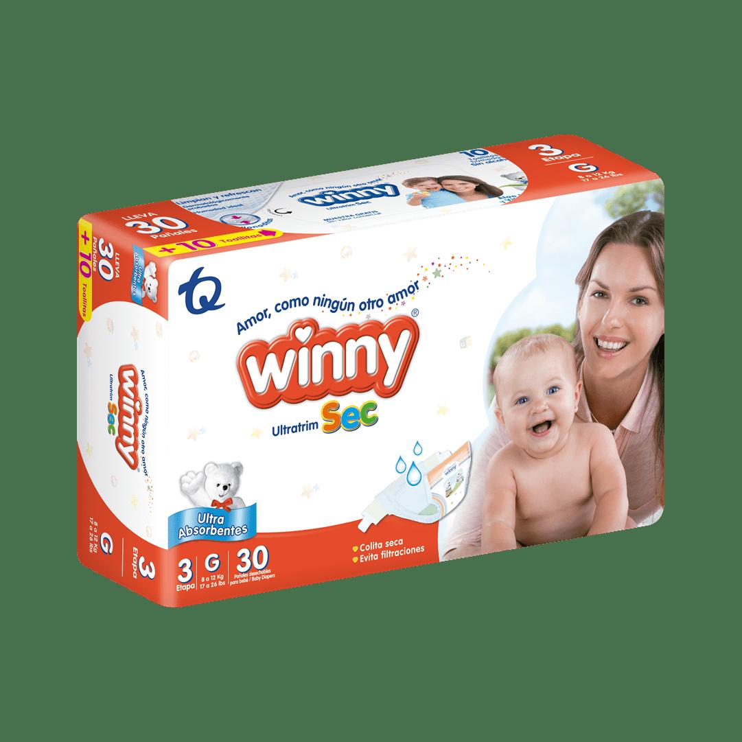 Pañal Winny Ultratrim Sec Etapa 3 X 30 Und Gratis 10 Toallas