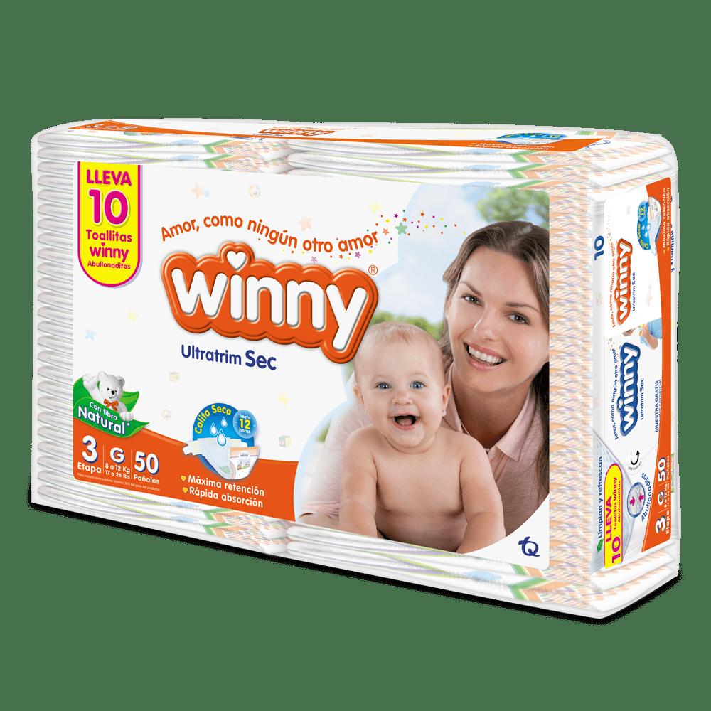 Pañal Winny Ultratrim Sec Etapa 3 X 50 Und Gratis 10 Toallas