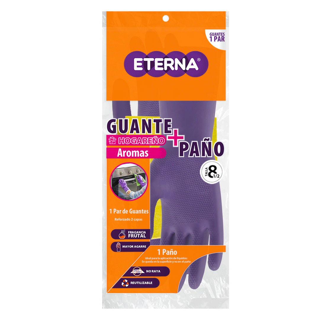 Guante Eterna Antibacterial Aroma Talla 8.5 Gratis Paño