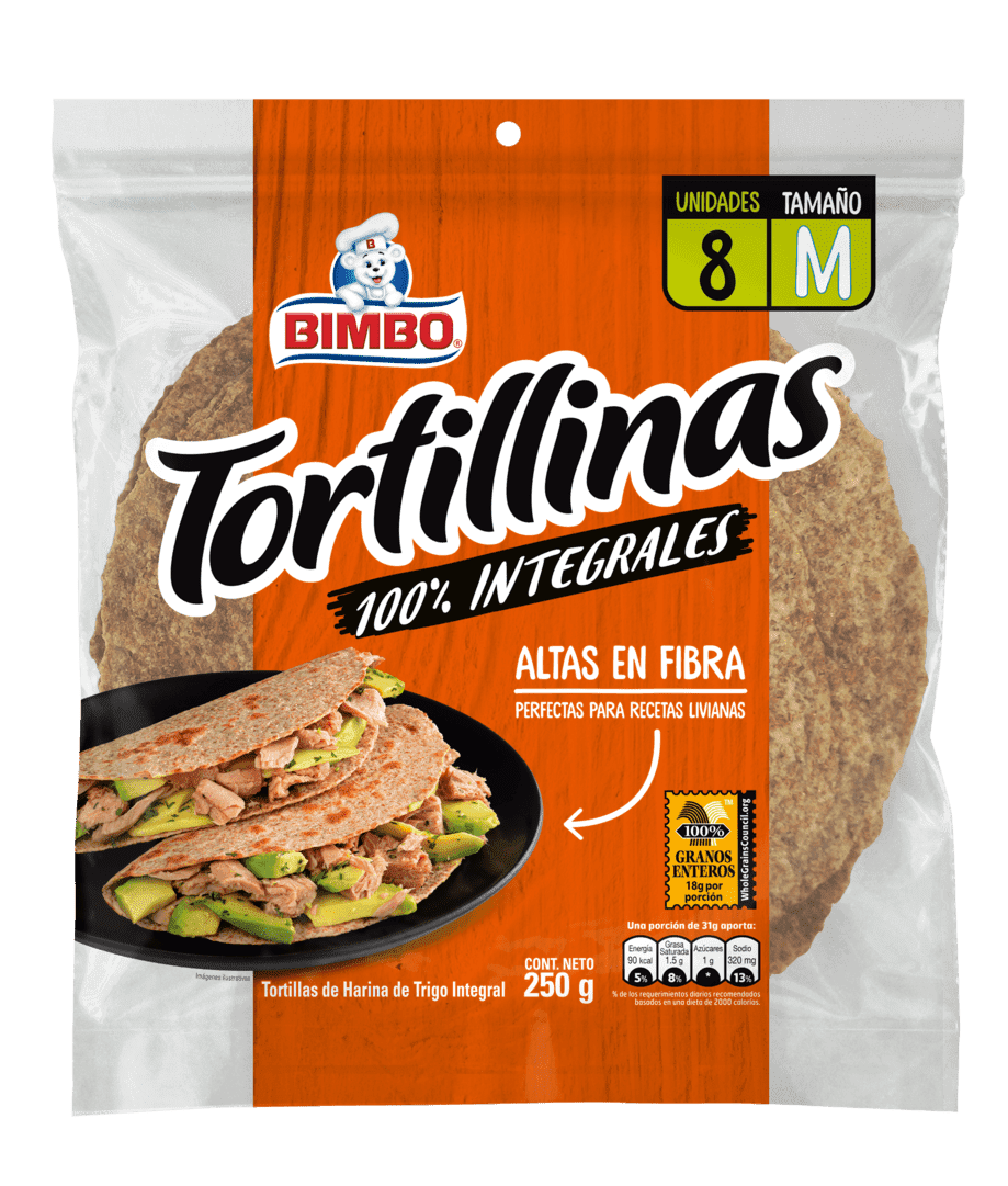 Tortilla Bimbo Integral X8 Und 250 G