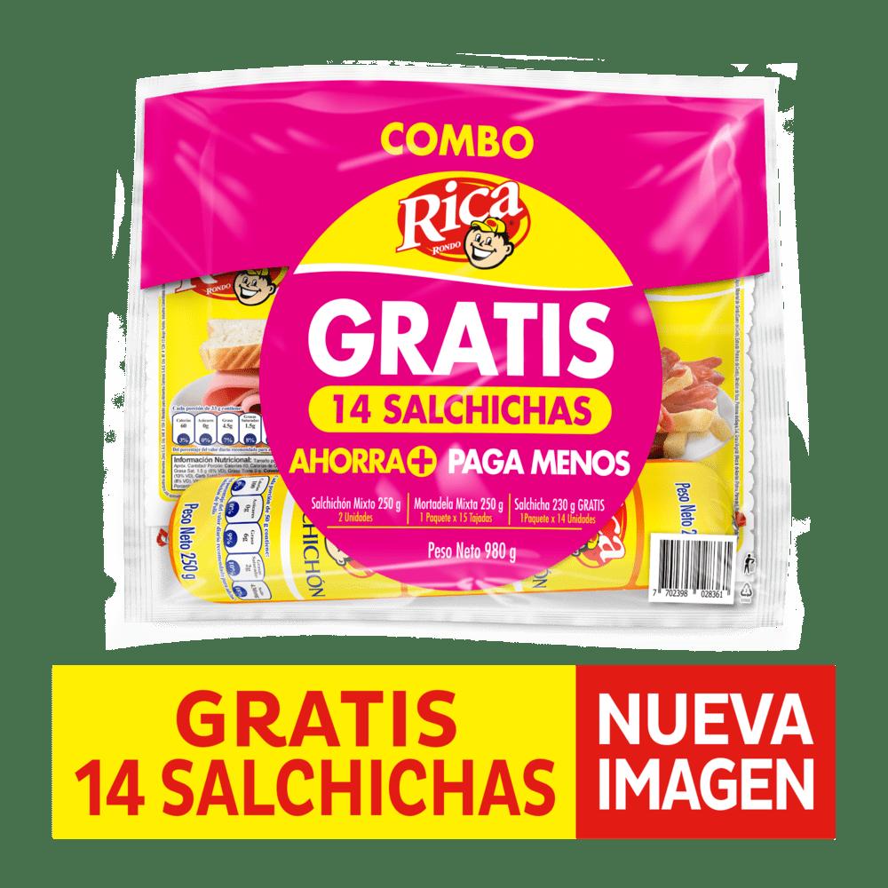 Combo Rica 2 Salchichón 250 G + Mortadela 250 G + Salchichas