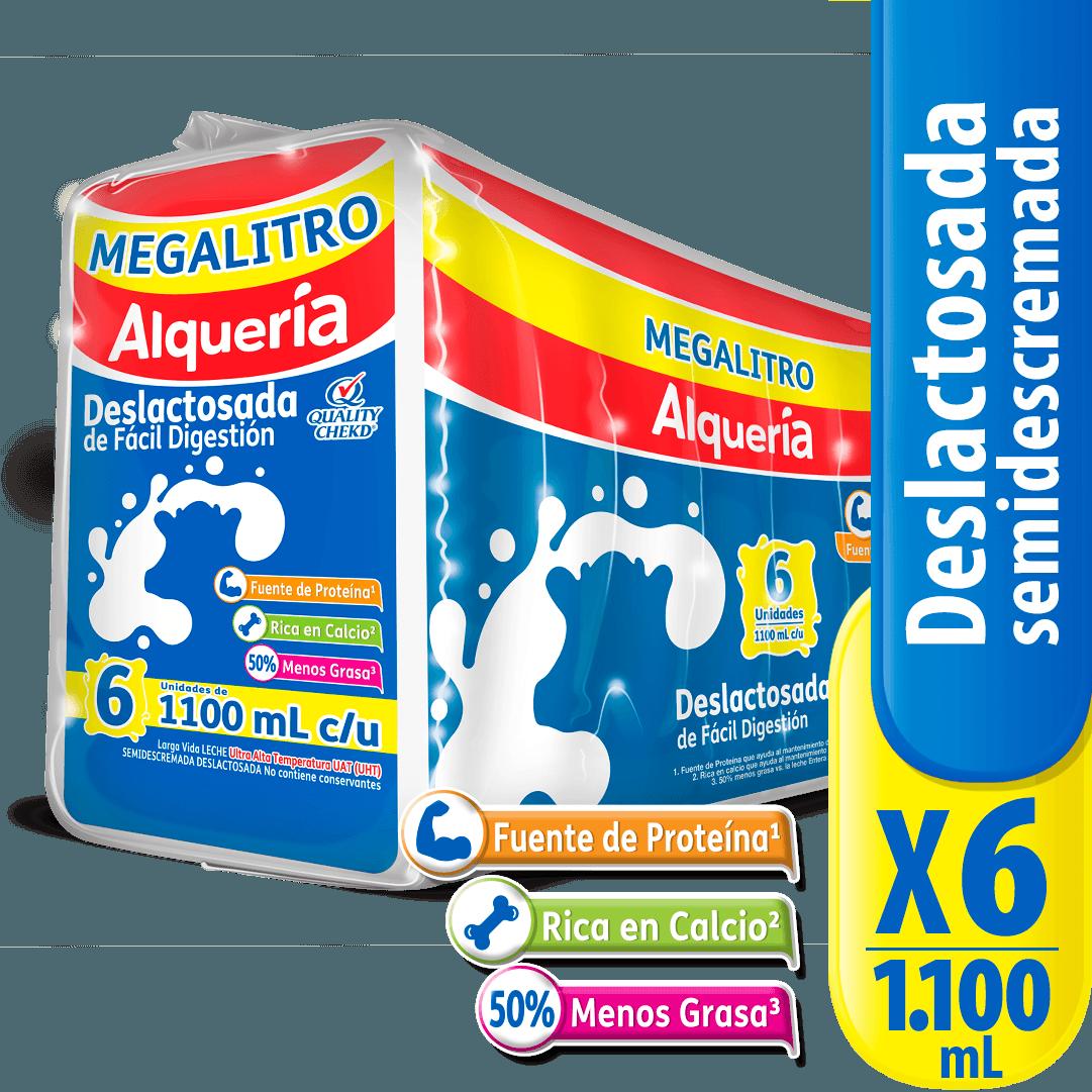 Leche Alquería Bolsa X 1100 Ml Deslactosada X 6 Und