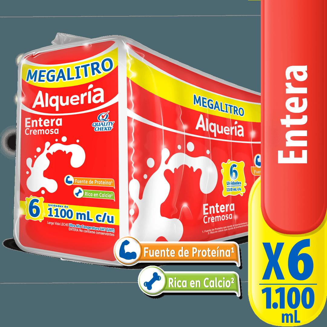 Leche Alquería Bolsa X 1100 Ml Entera X 6 Und