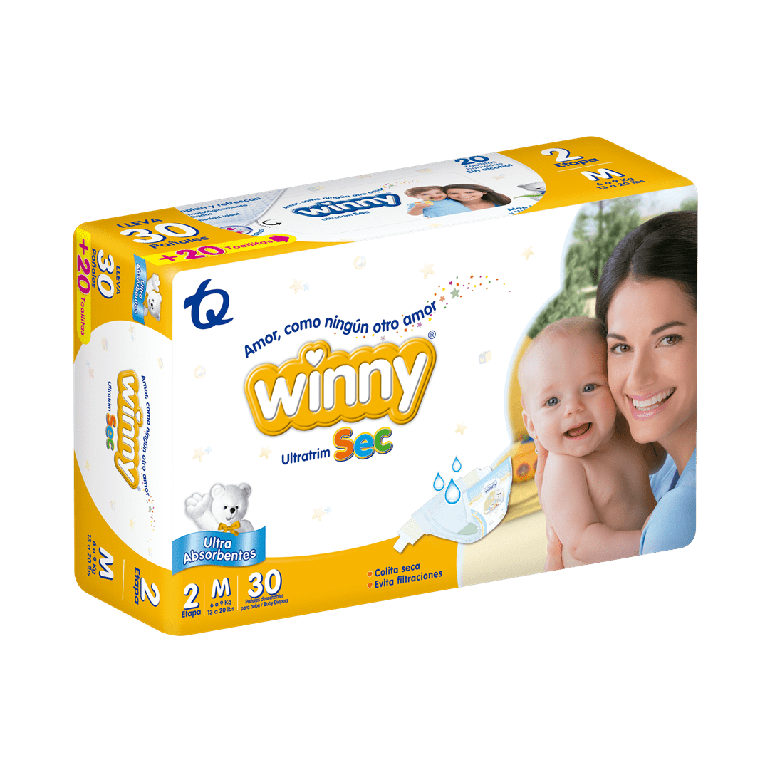 Pañal Winny Ultratrim Sec Etapa 2 X 30 Und Gratis 20 Toallas