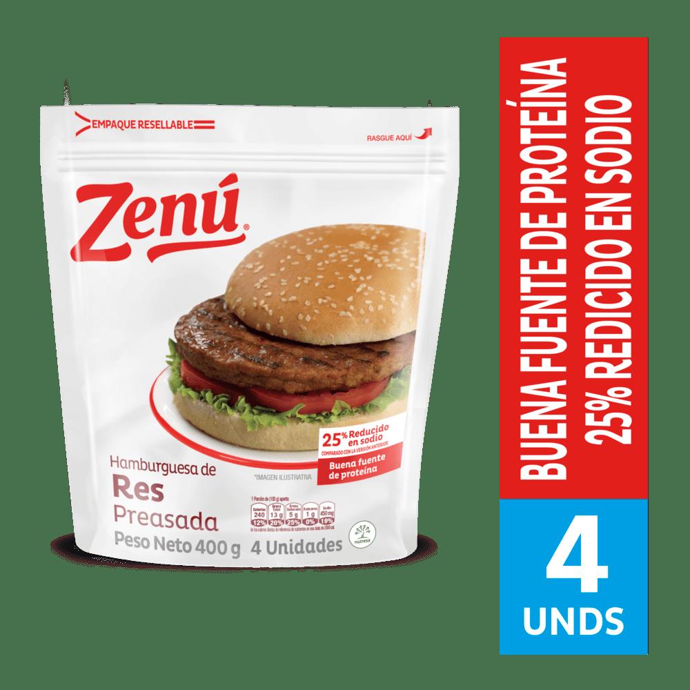 Hamburguesa Zenú Res Preasada 400 G