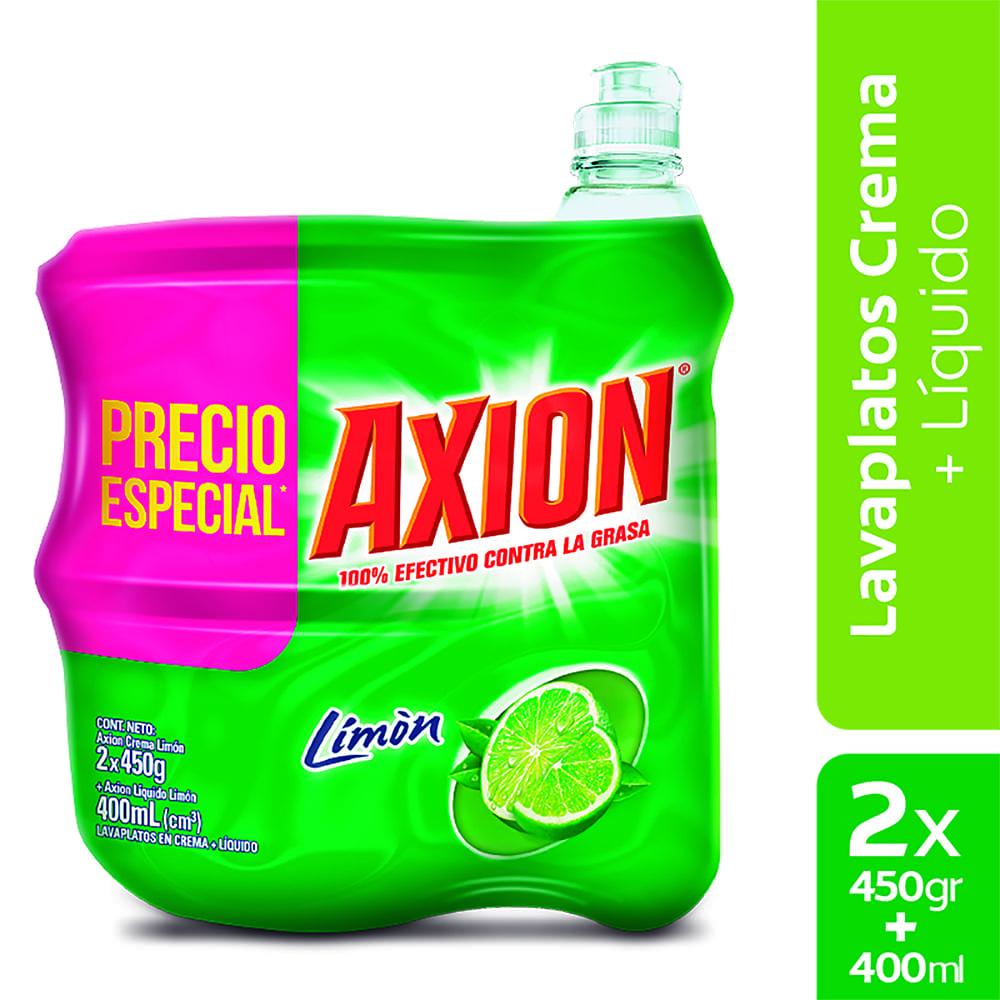 Lavaplatos Axión Limón Crema 2X450g + Líquido 400Ml $Esp