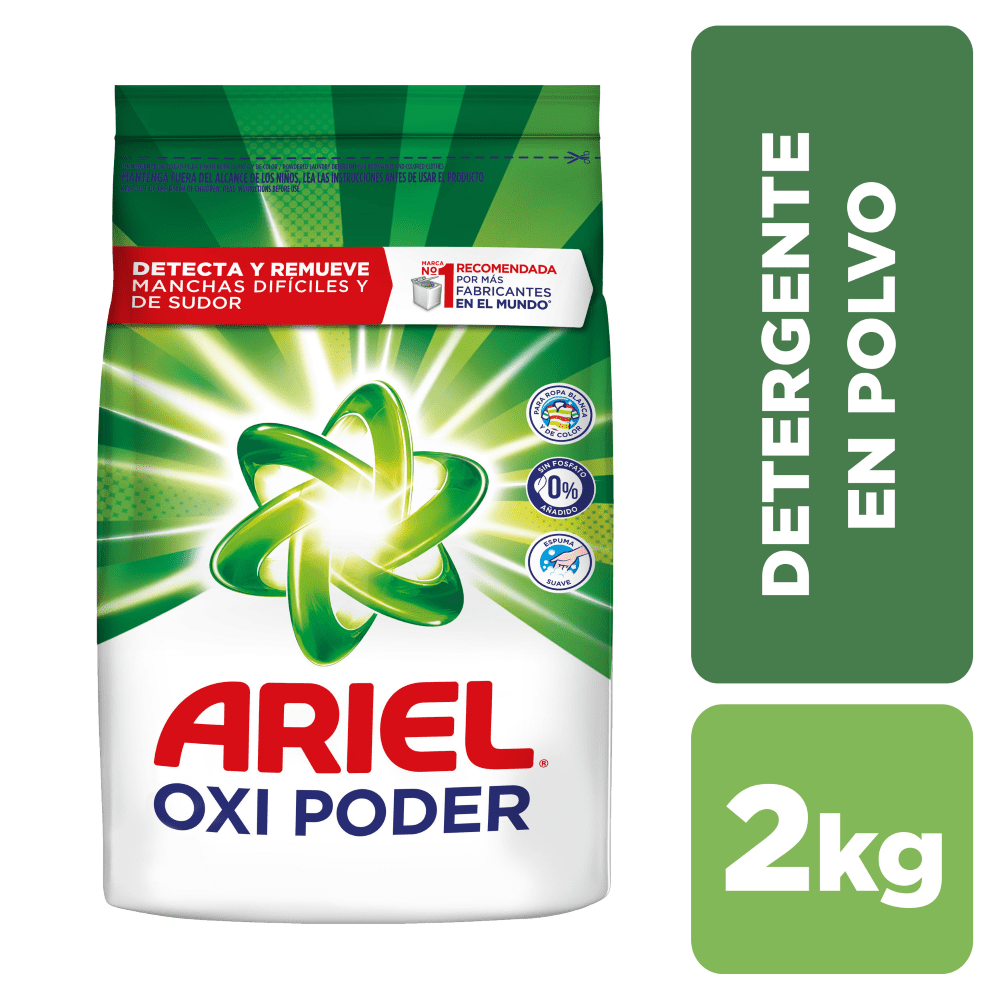 Ariel Doble Poder Detergente En Polvo R. Blanca Y Color 2 Kg