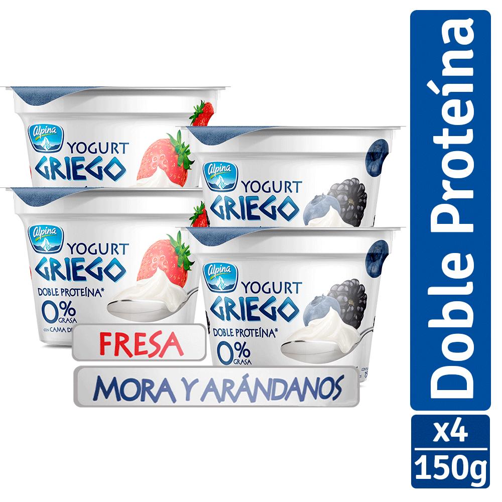 Multiempaque X4 Und Yogurt Griego Multisabor Vaso 150G