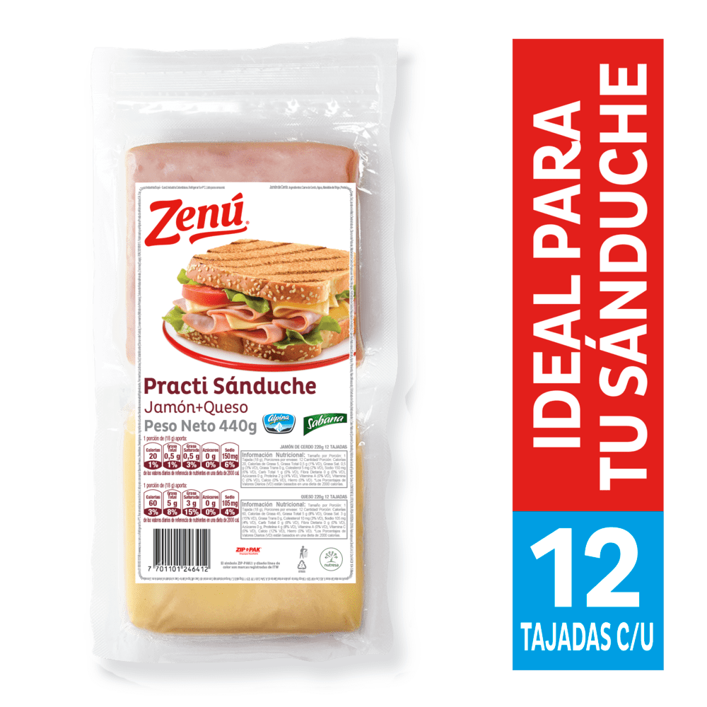 Sándwich Zenú Jamón+Queso 440 G