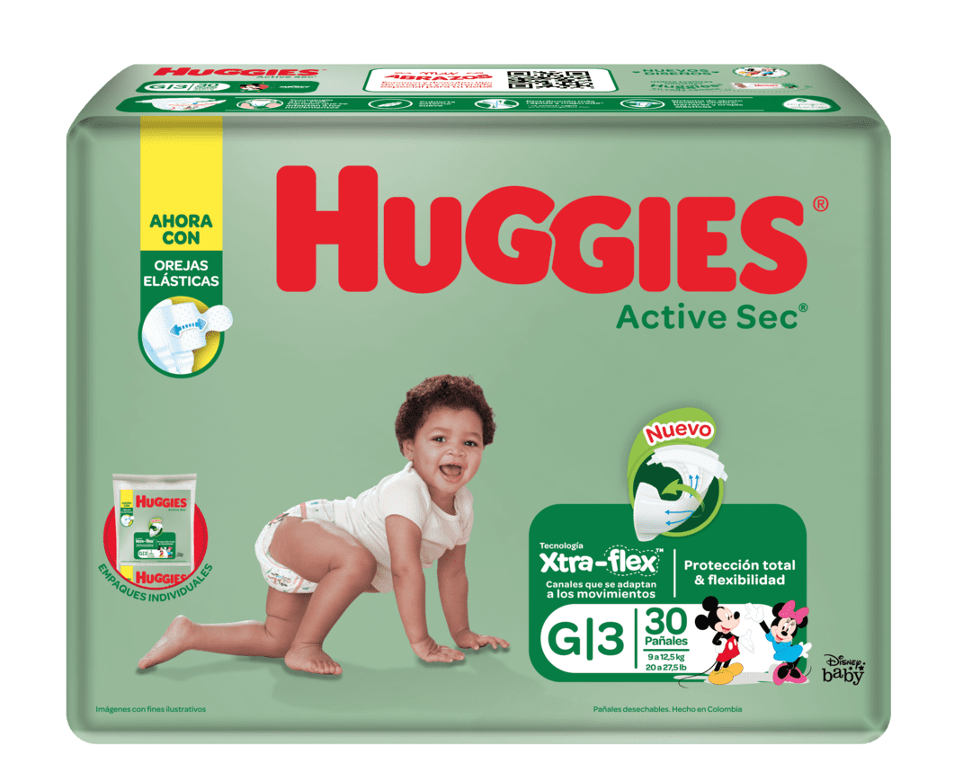 Pañal Huggies Active Sec Etapa 3 G 30 Und