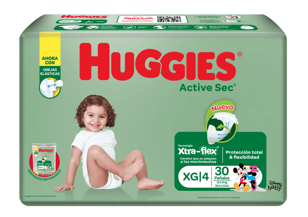 Pañal Huggies Active Sec Etapa 4 Xg 30 Und