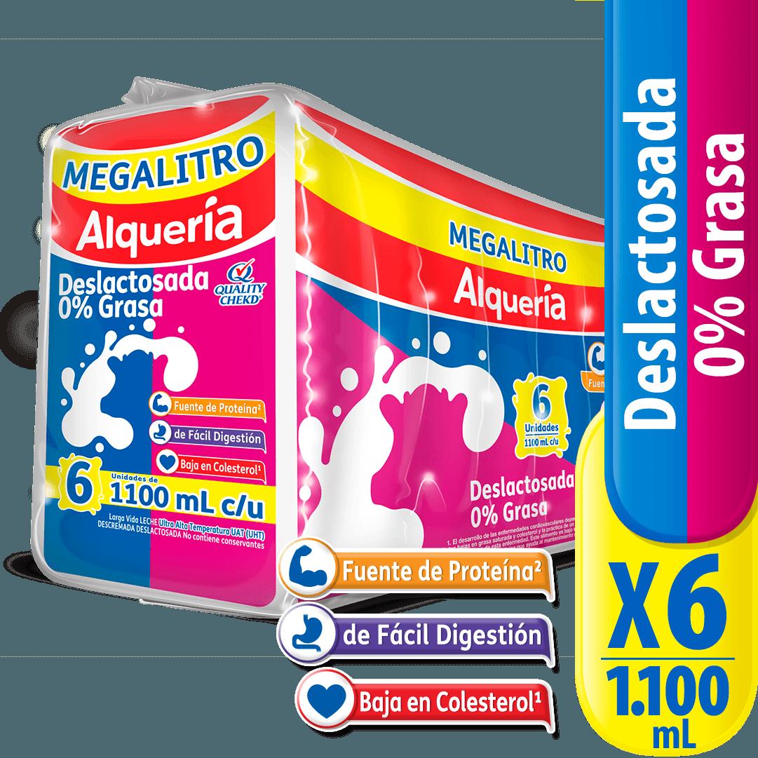 Leche Alquería Paq X 1100 Ml Descremada Deslactosada  6 Und