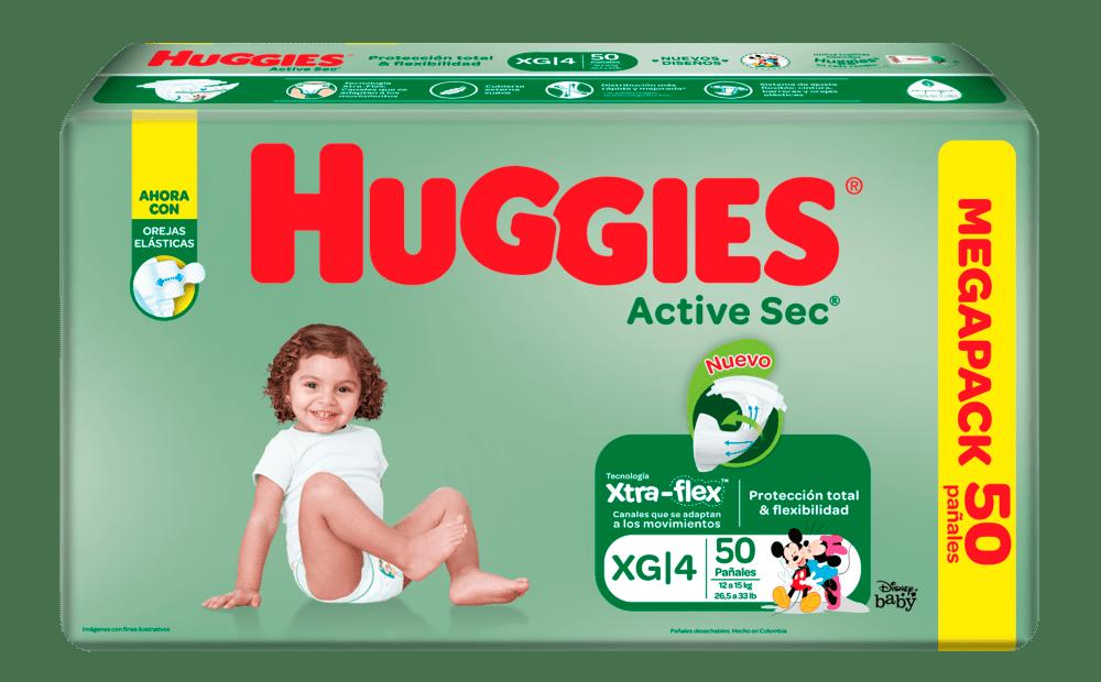 Pañal Huggies Active Sec Etapa 4 Xg 50 Und