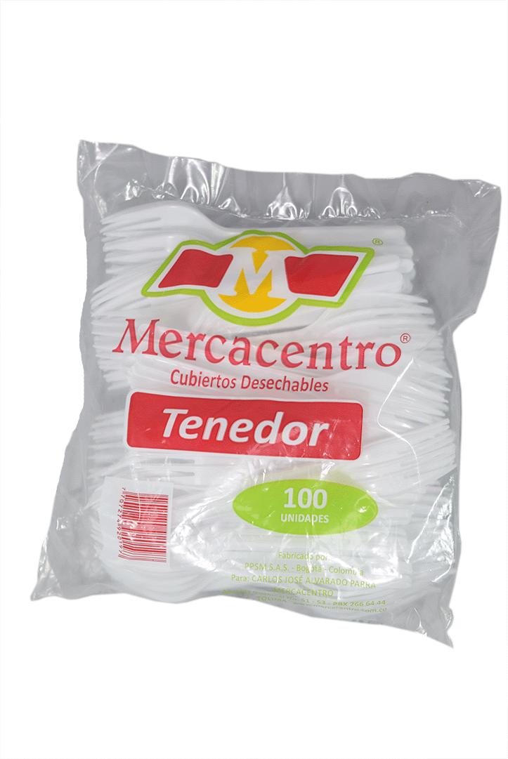 Tenedor Mercacentro Blanco Grande 100 Und