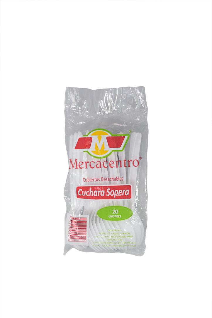Cuchara Mercacentro Blanca Sopera 20 Und