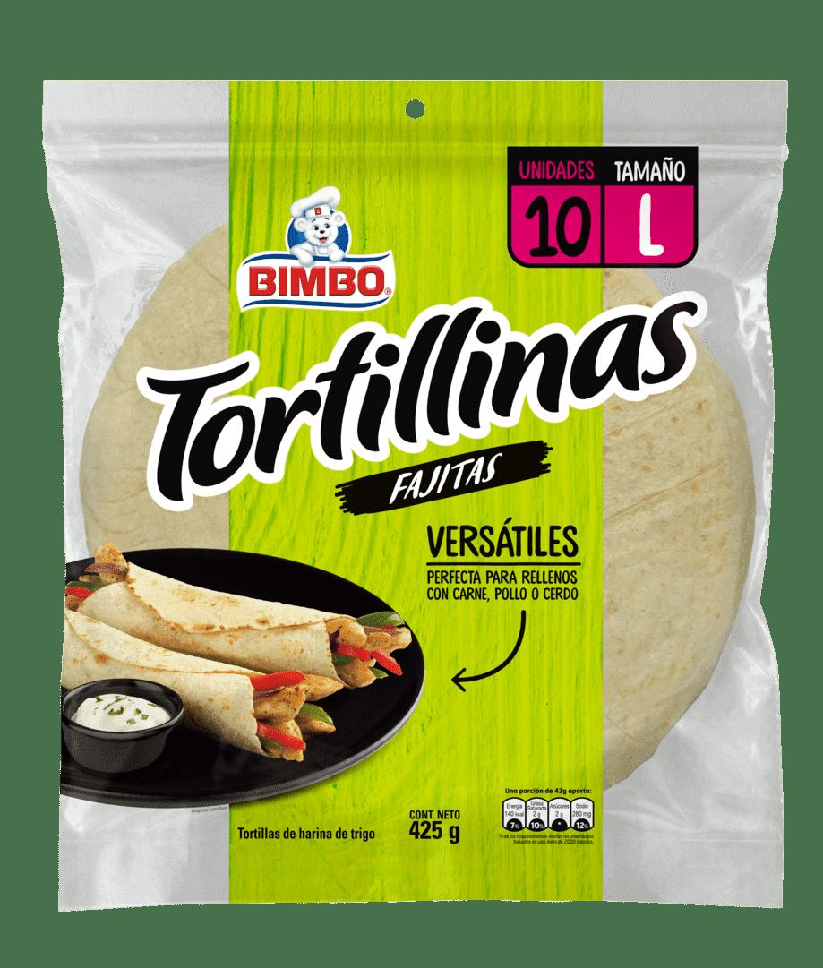 Tortilla Bimbo Blanca Fajitas X10 Und 425 G