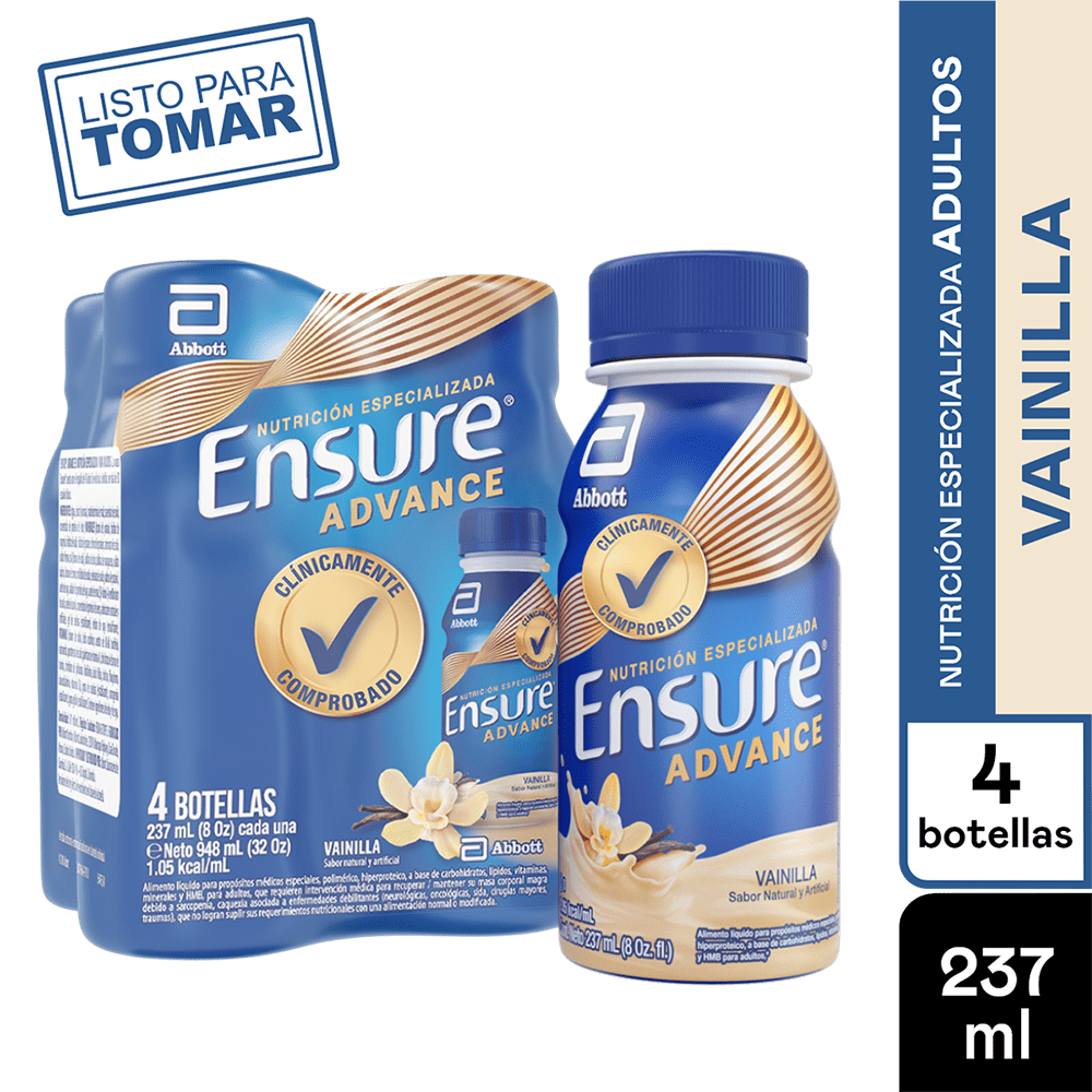 Ensure Advance Liquido Pet Vainilla X 4 Und/237Ml