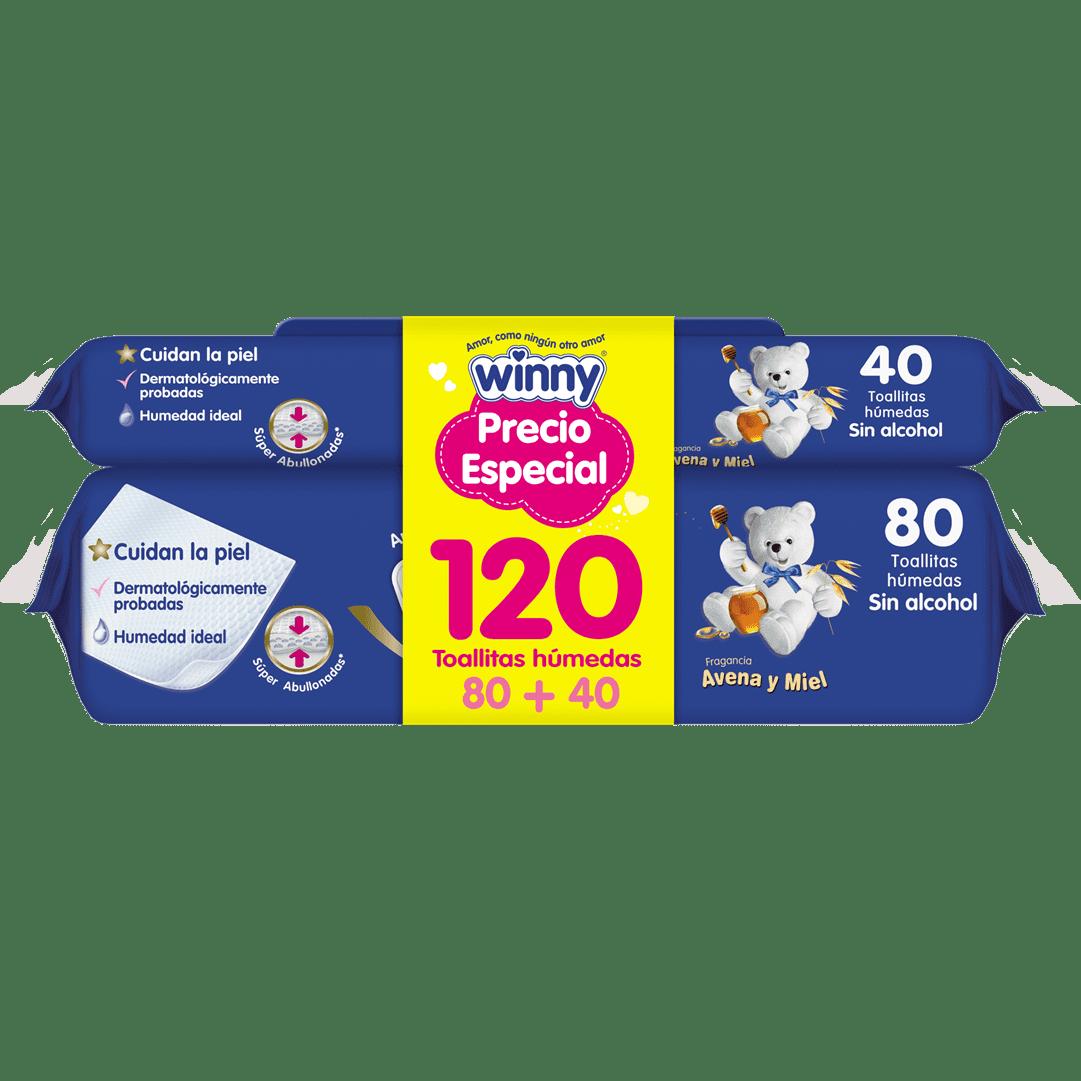 Toallitas Winny Avena Miel 80+40 Precio Especial 120 Und