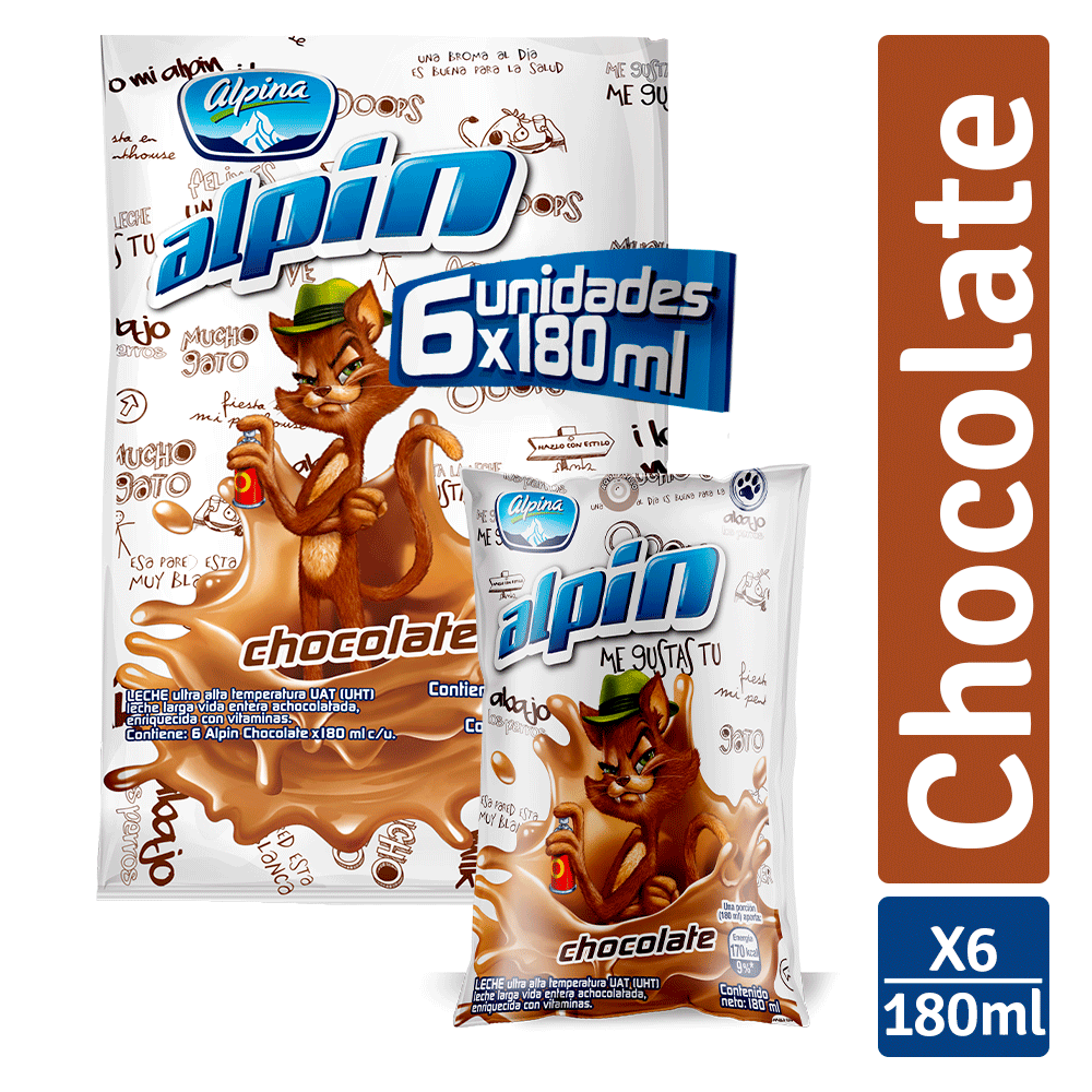 Multiempaque X6 Und Alpin Chocolate Bolsa 180Ml