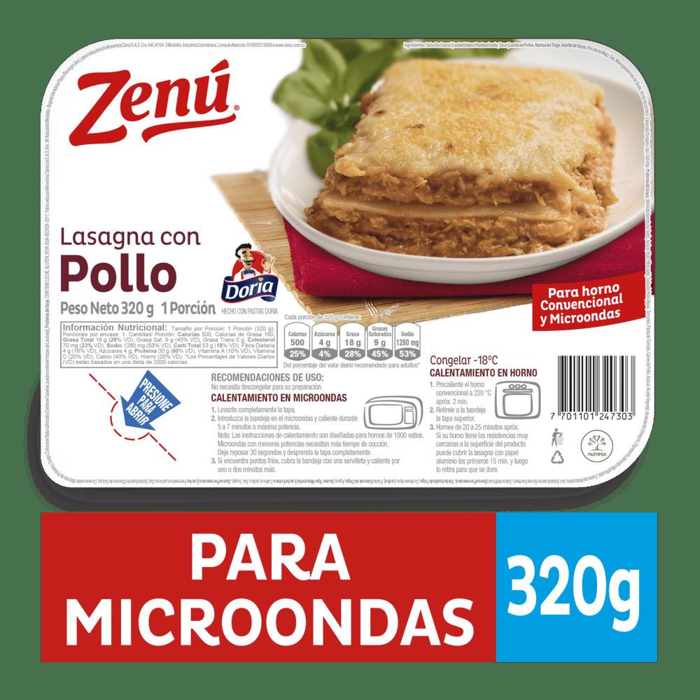 Lasagna Zenú Pollo Bandeja 320 G