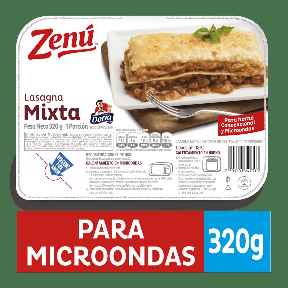 Lasagna Zenú Mixta Bandeja 320 G