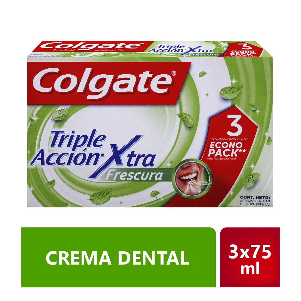 Crema Colgate 3X75 Ml Triple Acción Extrema Frescura