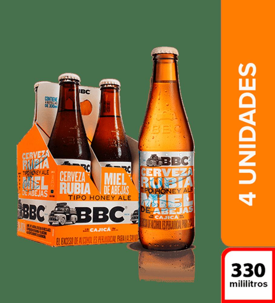 Cerveza Bbc Cajica Miel Botella 4 X330 Ml