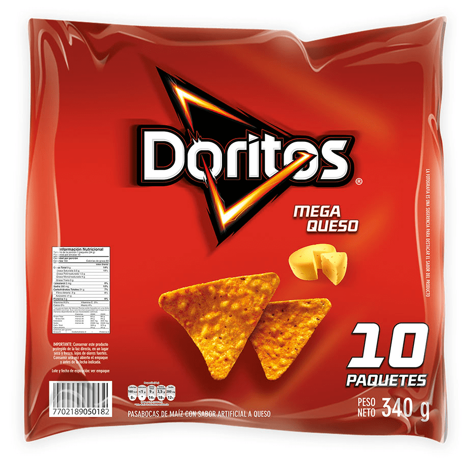Doritos Mega Queso 10Undx34 G Bolsa