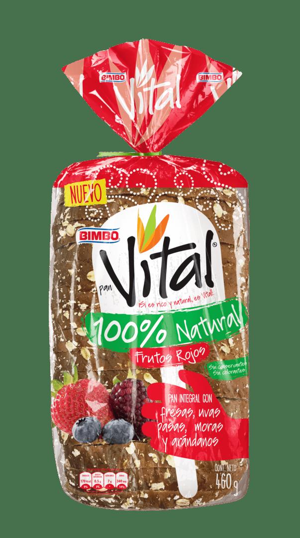 Pan Bimbo Vital Natural Frutos Rojos 460 G