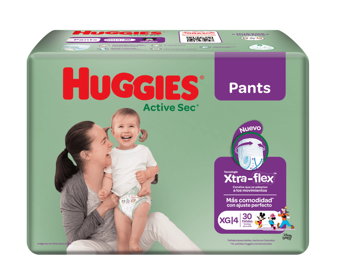 Pañal Huggies Active Sec Pant Xg Ajstables 30 Und