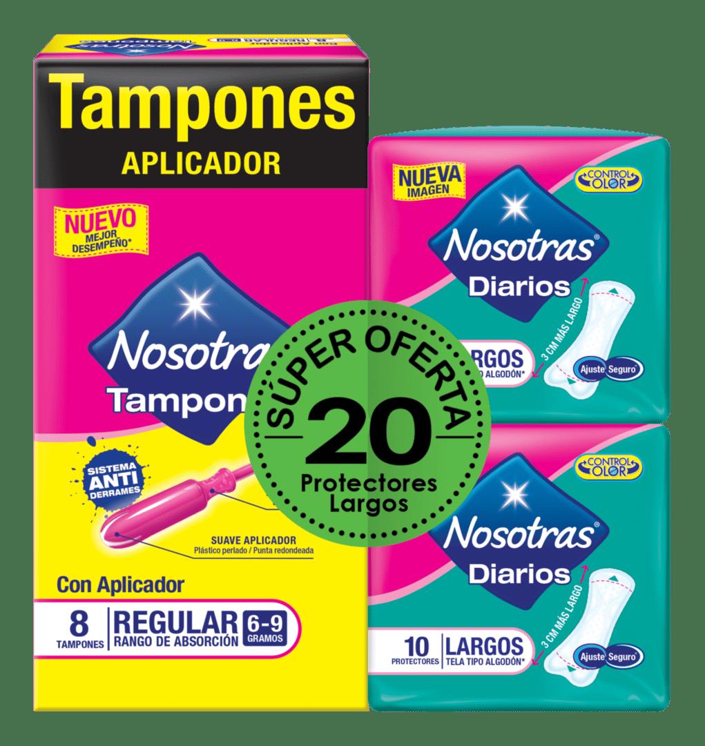 Tampon Nosotras Aplicador Regular + 2 Protec Nosotras Largo