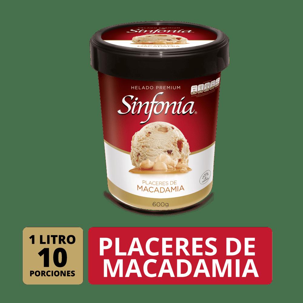 Helado Sinfonia Crem Helado Placer Macadamia 1 Litro/600 G
