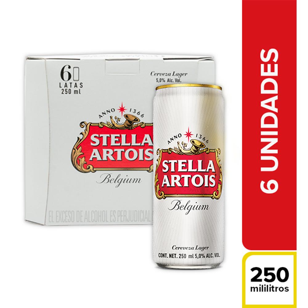 Cerveza Stella Artois Lata 6 X250 Ml