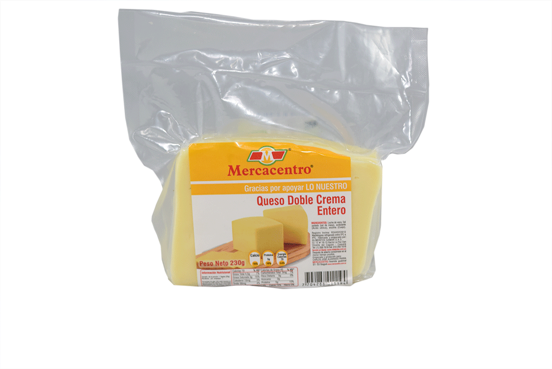 Queso Mercacentro Doble Crema Bloque 230 G
