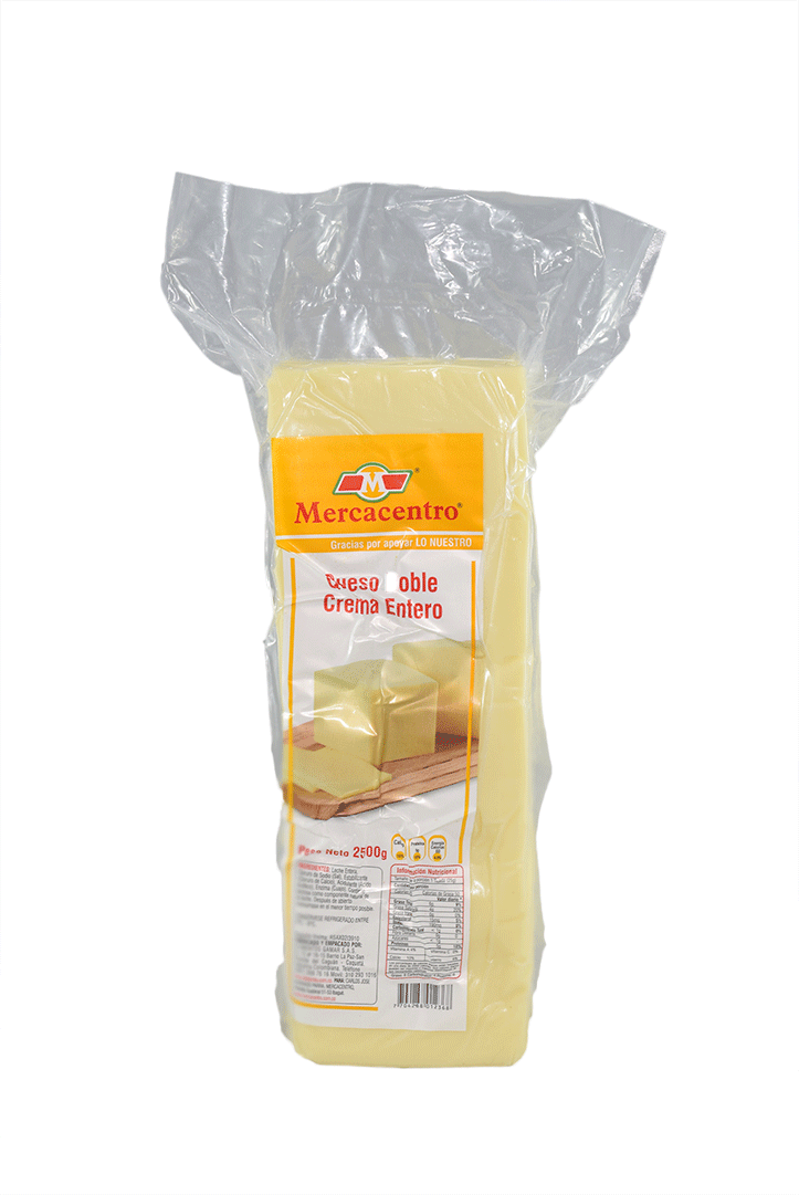 Queso Mercacentro Doble Crema Bloque 2500 G