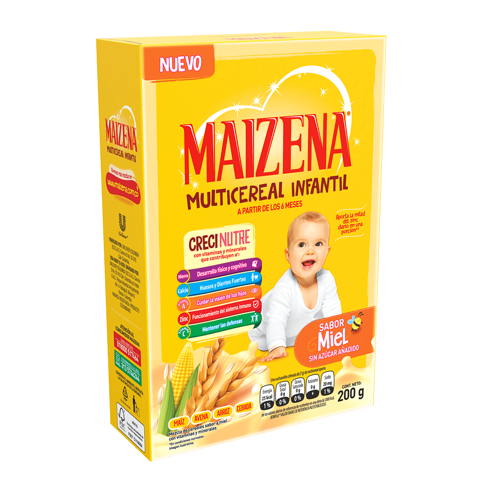 Colada Maizena Bebe Multicereal Miel 200 G