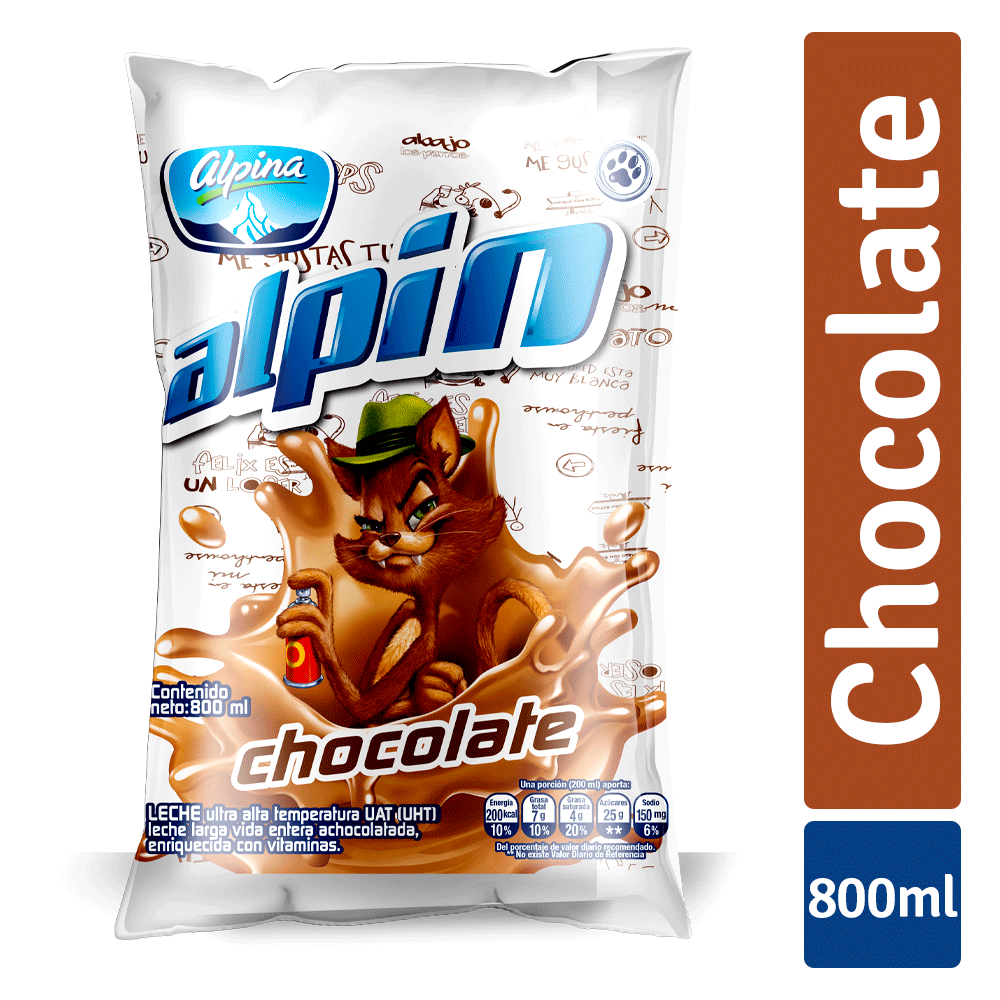 Alpin Chocolate Familiar Bolsa 800Ml