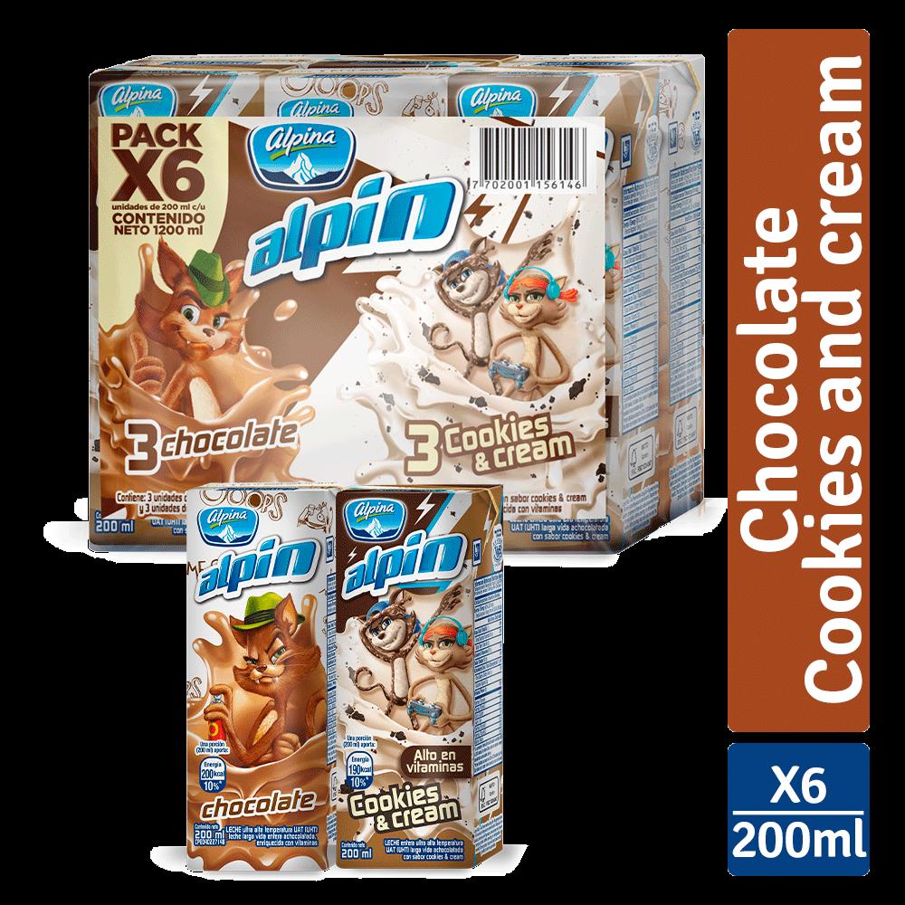 Multiempaque X6 Alpin Caja Chocolate Cookies And Cream 200Ml