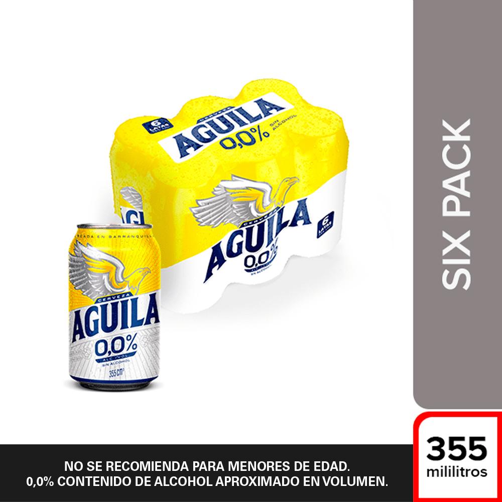 Cerveza Aguila Sin Alcohol Lata Sixpack X 355 Ml C/U