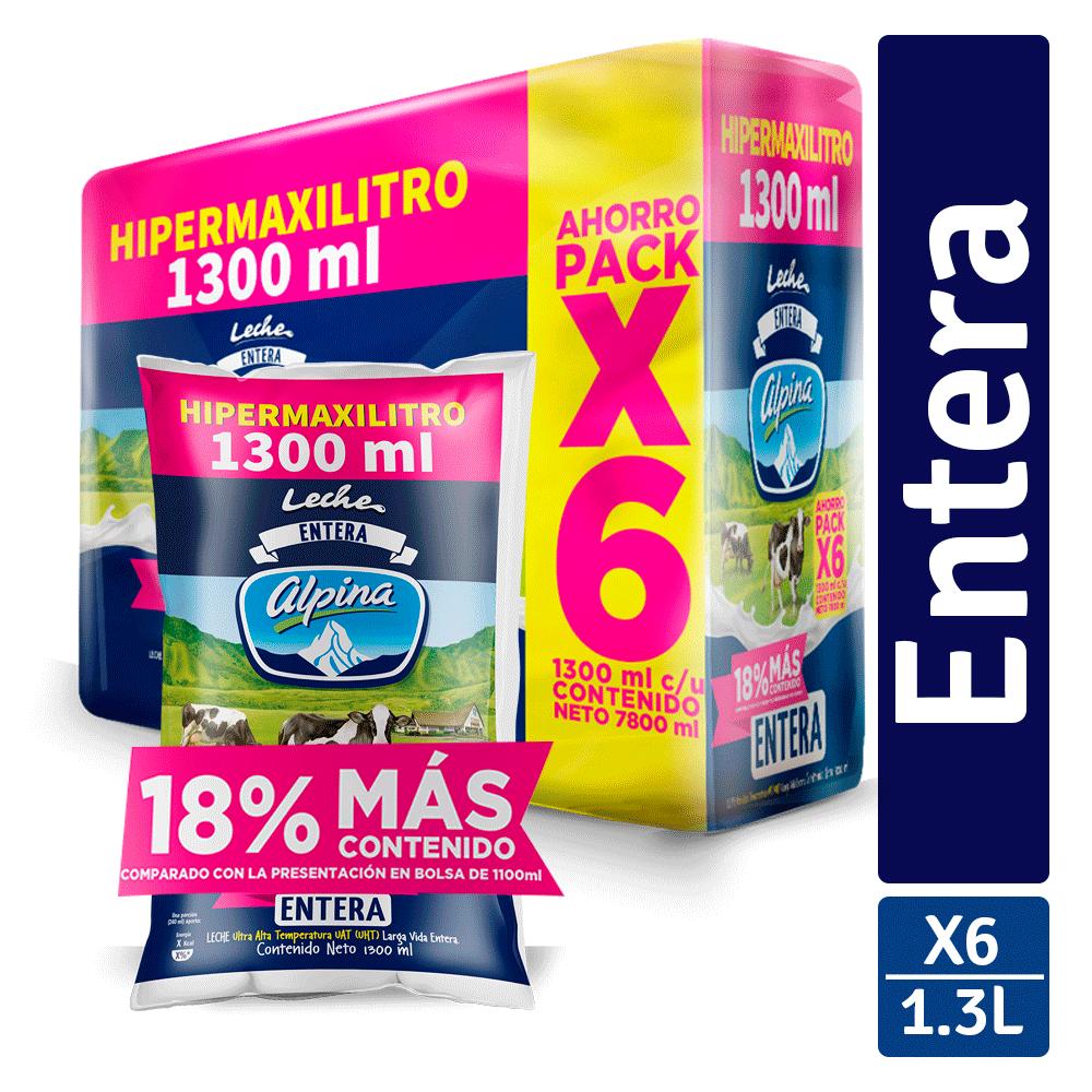 Multiempaque X6 Und Leche Entera Bolsa 1.3L